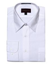 Men Dimention Dress Shirt Regular Fit Solid Color White