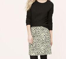 Ann Taylor LOFT Snow Leopard Shift Skirt Size XXSP, SP NWT Ivory Tusk