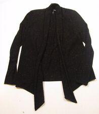 Aqua Women's Drape Front Black Donegal Cashmere Speckle Cardigan Sweater $198