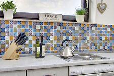 Küchenrückwand Fliesenspiegel Glas Mosaik Design Optik blau/orange Art:78B-0123b