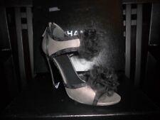 CHANEL Grey Black Tulle Silk Camellia Flower Open Toe Sandals Shoes Heels $1,595