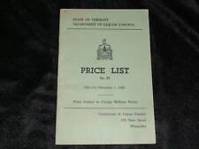 1962 VERMONT DEPT of LIQUOR CONTROL PRICE LIST BOOKLET
