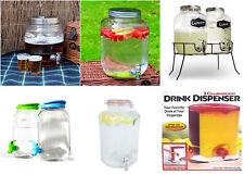 DRINKS DISPENSER GLASS 8 / 7.6 /6 LITER GLASS MASON JAR HOME/OUTDOOR/PICNIC BAR