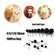 100 StückeSchwarz Glas Augen Nadelfilz für Bären Tiere Puppen 4/5/7/8 / 10mm DE
