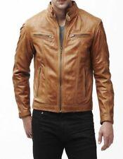 Mens Biker Vintage Genuine Lambskin Tan Brown Slim Fit Motorcycle Leather jacket