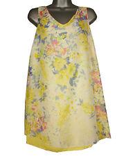 Plus size lemon/blue printed split back sleeveless top