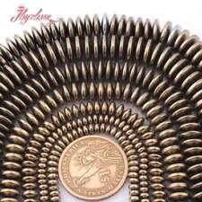 "Gold Heishi Rondelle Disc Metallic Coated Hematite Stone Spacer Loose Beads 15"""
