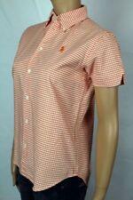 Ralph Lauren Orange White Checkered Oxford Button Down Short Sleeve Shirt NWT