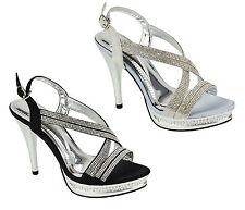 S500 - Ladies Bridal Strappy Diamante Party Prom Evening Sandals - UK 3 - 8
