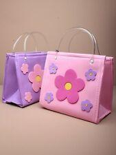 GIRLS DAISY MOTIF FOAM SQUARE HAND BAGS/HANDBAG, CLEAR HANDLE PARTY BAG