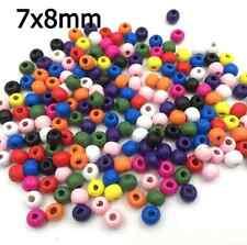20 / 50 / 100x Holz Perlen farbige bunt - 7x8mm - Kugeln Schmuck Basteln Beads