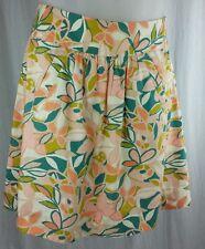 J CREW Womens Peach Floral Knee Length Patio Skirt Half Circle 100% Cotton