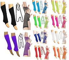 NEW LADIES /GIRLS NEON LEG WARMERS NECKLACE & GLOVES Tutu 80's FANCY DRESS
