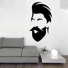 Wall Vinyl Decal barber Shop Salon Moustache Haircut Beards Stickers z4741