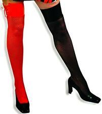 Sexy Strümpfe rot oder schwarz 1 Paar Netzstrümpfe Overknees Lack 125611213