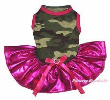 Valentine Plain Camouflage Camo Top Bling Hot Pink Tutu Pet Dog Puppy Cat Dress