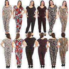 New Womens Leopard Floral Print Jumpsuits Dress Cowl Neck Harem Jumpsuits 14-28