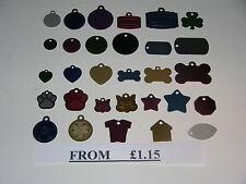 LEGA di ALLUMINIO PET CANE / GATTO ID tag di metallo disco di varie forme e colori