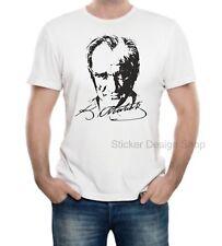 Atatürk imza T-Shirt Druck Baumwolle Fruit of The Loom Türkiye Istanbul Weiß