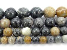 Natural Black picasso Jasper Gemstone Round Beads 15.5'' 4mm 6mm 8mm 10mm 12mm