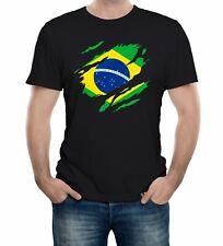 Mens Torn Brazil Flag T-Shirt Brazilian World Cup Football Supporter Proud