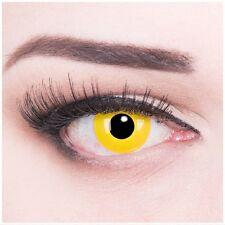 Crazy Fun gelbe Kontaktlinsen mit Stärke funny Yellow Behälter für Halloween