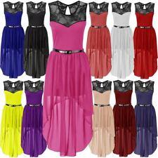 Womens Asymmetric Chiffon Dip Hem Ladies Plus Size Lace Belted Party Dress 8-26