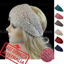 Girl Ladies Stretch Knit Ear Head Warmer Headband Galaxy Diamante Shiny Glitter