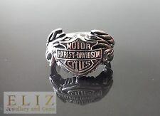 925 Sterling Silver Motor CYCLES Harley Eagle Wings Biker Rocker RING Pre-owned