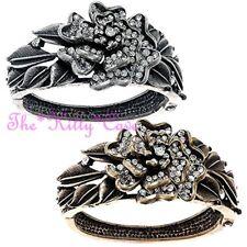 Textured Vintage Shabby Chic Rose Flower Bangle Bracelet w/ Swarovski Crystals