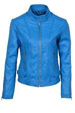 Luxury Ladies Leather Jacket Blue Real Italian Nappa Leather Biker Style Design