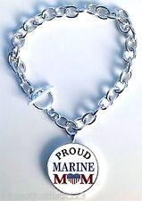 Proud Marine Mom Charm Bracelet