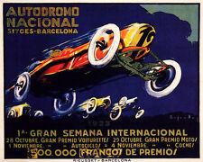 POSTER AUTODROMO SITGES 1923 CAR RACING BARCELONA SPAIN VINTAGE REPRO FREE S/H