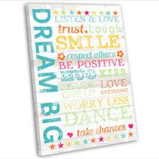 Dream Big Inspirational Motivational Words Canvas Print Framed Wall Art Picture