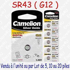 Pile Bouton SR Oxyde d'argent 1,55V : SR43 G12 186 386 LR43 : par 1, 5, 10 ou 20