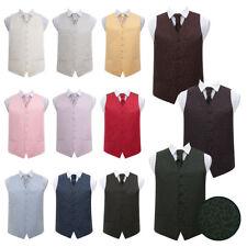 DQT Woven Swirl Mens Boys Wedding Waistcoat & Cravat Set + FREE Hanky & Pin