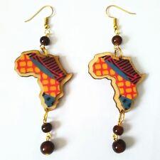 Trendy wooden Africa map drop earrings