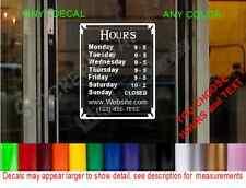 Store Hours custom SIGN WINDOW Door DECAL cafe deli restaurant boutique salon