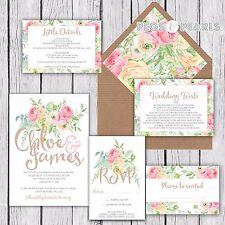 Personalised Luxury Rustic Wedding Invitations PASTEL FLORAL packs of 10