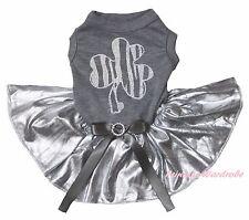 St Patrick Day Zebra Clover Gray Top Bling Silver Skirt Cat Pet Dog Puppy Dress