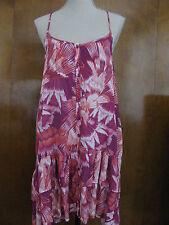 Free People women's raspberry peacock print sheer NWT dress size Medium