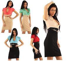 New Ladies Ruffle Lined Top Cut Back Skirt Belted 2 In 1 Office Wear Dress 8-16