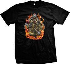 Fireman Skeleton Skull Axe Flames Firefighter First Responder Mens T-shirt
