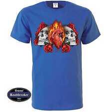 T shirt Royal azul góticos tatuaje mexicano & rockebillymotiv modelo Skulls Heart Rose
