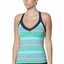 7029ab79e774e NWT Women's Nike Striped V-Neck Tankini Top Choose Size Green/Grey/White