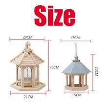 New listing Handmade Hanging Wooden Bird Feeder Hexagon Roof Garden Yard Outdoor Decor