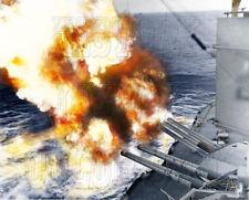 USS Nevada D-Day WWII WW2 Utah Beach Battleship gunfire color photo 80-G-252412