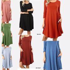 Zenana Sweater Pocket Dress/TUNIC NEW! S, M, L, XL, 1X, 2X, 3X VARIETY OF COLORS