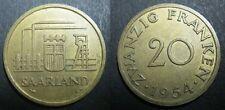 LA SARRE - SAARLAND 20 FRANCS 1954 - TTB+/SUP-