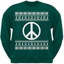 Peace Sign Ugly Christmas Sweater Dark Green Adult Sweatshirt